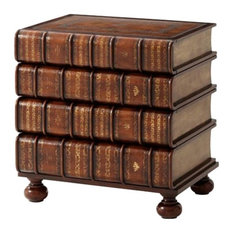 Theodore Alexander - Theodore Alexander A Hand Carved and Filt Faux Book Nightstand - Nightstands and Bedside Tables