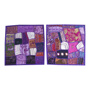 Mogulinterior - Decorative Indian Throw Pillow Cases Purple Embroidered Patchwork Cushion Cover - Pillowcases And Shams