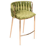 Statements by J - Milano Counter Chair in Green - Weaved green velvet fabric and gold steel legs creates this counter chair with sleek design.