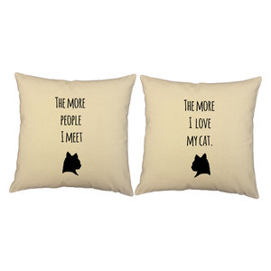 """RoomCraft Love My Pet Throw Pillow Cover/Cushion Set, Natural, 16""""x16"""", Love My"""