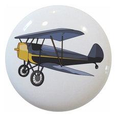 Vintage Airplane Biplane Ceramic Cabinet Drawer Knob