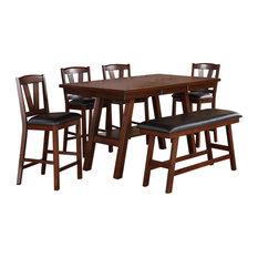 Hollywood Decor   Herning 6 Piece Counter Height Dining Set, Dark Walnut  Finish