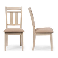 Roseberry French Antique Oak and Distressed White Dining Side Chair, Set of 2