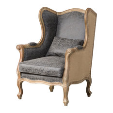 Guinevere Wing Arm Chair, Nubuck Charcoal Gray
