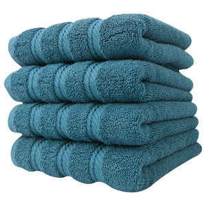 """Antalya Turkish Collection Hand Towels, Set of 4, Colonial Blue, 16""""x30"""""""
