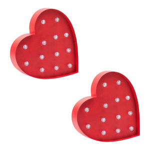 Pack of 2 Litecraft Heart Shaped Novelty Table or Wall Light