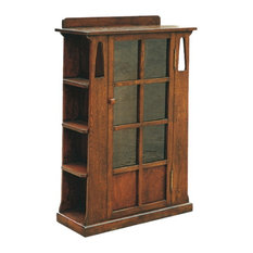 Arts and Crafts Mission Oak Bookcase With Cut Outs and Side Shelves