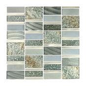 "Gray Blue Imperial Silver Sea Glass Mosaic Tile, 11.75""x11.75"" Single Sheet"