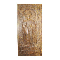 Consigned Standing Buddha Wall Panel Rustic Hand Carving Wooden Door Panel