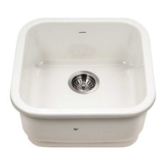 "Platus Fireclay Undermount 19"" Square Bar Sink, Biscuit"