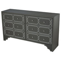 Opry Dresser or Chest in Grey Faux Leather With Chome