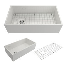 Bocchi Contempo 36 White Fireclay Farmhouse Sink Single Bowl With Free Grid