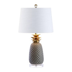 """Pineapple 23"""" Ceramic Table Lamp, Gray and Gold, White Shade"""