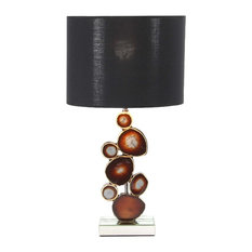Modern Mirrored Wooden Table Lamp With Resin Montage Design, Brown