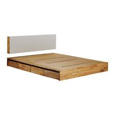 Mash Lax Platform Solid Wood Storage Bed, King Platform with Headboard