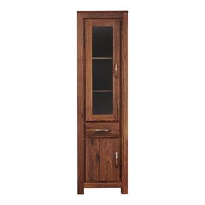 1 Drawer and 2 Door Mayan Solid Walnut Narrow Glazed Bookcase