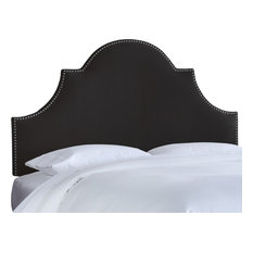 Taylor Nail Button High Arch Notched Headboard In Velvet Black Twin