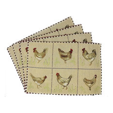 Farmhouse Rooster Hens Vintage Woven Tapestry Placemats