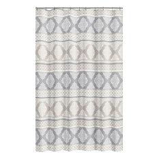 Grey Beige Fabric Shower Curtain: Geometric Print