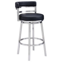 """30"""" Bar Height Barstool, Brushed Stainless Steel/Black Faux Leather"""