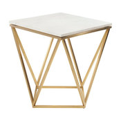 Jasmine Side Table by Nuevo, Marble Top With Gold Brushed Stainless Steel Frame