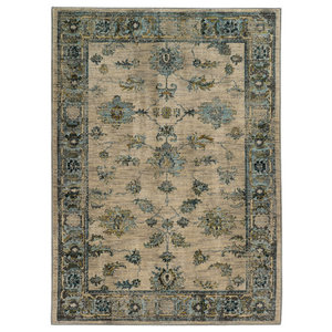 "Casa Faded Traditional Ivory and Blue Rug, 3'10""x5'5"""