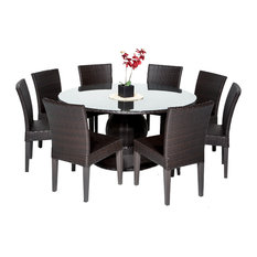 """Barbados 60"""" Outdoor Patio Dining Table with 8 Armless Chairs,Espresso"""