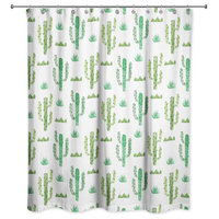 Watercolor Cacti 71x74 Shower Curtain