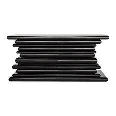 65-inch L Sideboard Cabinet Solid Mahogany Wood Black Finish Modern Artisan Design
