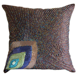 Brown Art Silk 45x45 Peacock Feather Cushion Covers, Peacock Sparkle