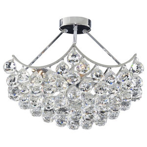 Sassari Chrome 5-Light Semi Flush Ceiling Light, Crystal Ball Basket