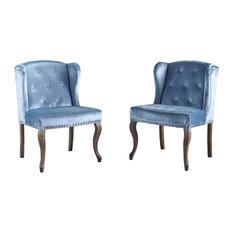 GDF Studio Natalia New Velvet Wingback Club Chair, Icy Blue, Set of 2