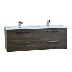 "Camino 59.5"" Modern Double Vanity Set Wall Mount Gray Oak"