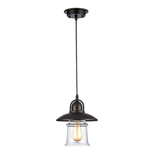 """IRONCLAD, Industrial-style 1 Light Rubbed Bronze Ceiling Mini Pendant, 9"""" Shade"""