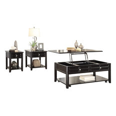 3-Piece Calbeck Lift Top Cocktail Table 2 End Table Chair Table Dark Espresso by HEFX Furniture