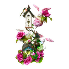 Birdhouse Floral Centerpiece, Pink, White, Yellow, and Lime