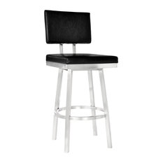 """Callisto 26"""" Counter Stool, Brushed Stainless Steel & Black Faux Leather"""
