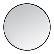 Asti Round Bevelled Wall Mirror, Black, 90 cm