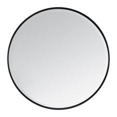 Madeleine Home London - Asti Round Bevelled Wall Mirror, Black, 90 cm - Wall Mirrors
