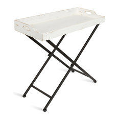 "Marmora Wood Foldable Tray Table 32""x14""x30"", White"