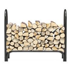 Regal Flame 4 Foot Heavy Duty Firewood Log Rack Outdoor Firewood Holder, Black