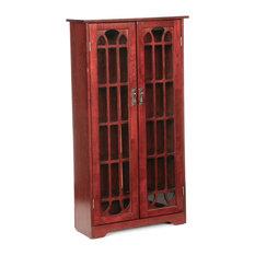 Southern Enterprises - Janus Window Pane Media Cabinet, Cherry - Media Cabinets