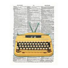 Art N Wordz Antique Yellow Typewriter Original Dictionary Sheet Pop Art Print