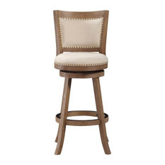 Offex Dining Room 29-inch Melrose Bar Stool Driftwood Gray Wire-Brush And Ivory
