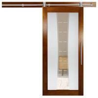 "Genuine Solid Tropical Oak Wood Sliding Barn Door with Glass Insert, 48""x81"" Inc"