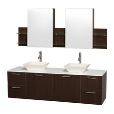 "Amare 72"" Espresso Double Vanity With White Man-Made Stone Top and Cabinet"
