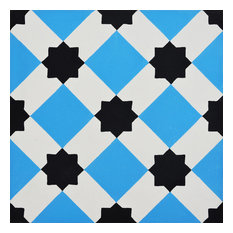 "8""x8"" Ait Baha Handmade Cement Tile, Blue/Black, Set of 12"