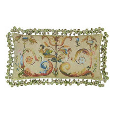 New Throw Pillow Aubusson Silk Hand-Woven