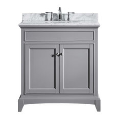 "30"" Gray Solid Wood Bath Vanity Set, White Carrara Top and White Undermount Sink"