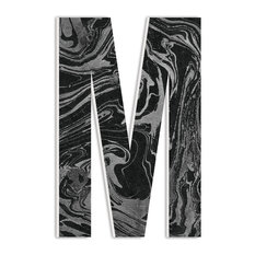 "Modern Black and Grey Marbled Paper Texture Patterned M 18"" Oversized Initial"
